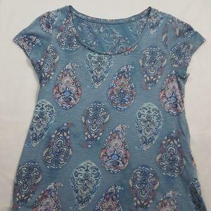 🔥Lucky Brand Blue Cotton Paisley Print T-shirt